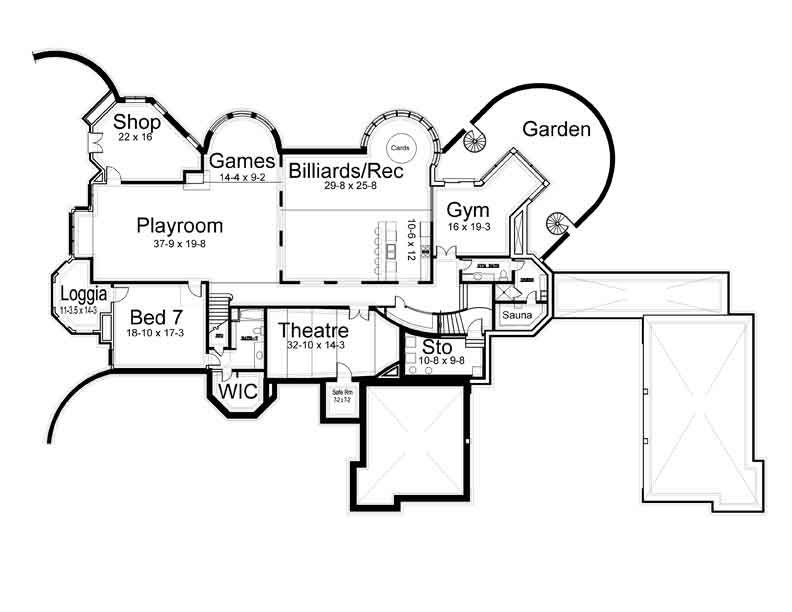 Basement Floor Plan image of Chateaubriand House Plan