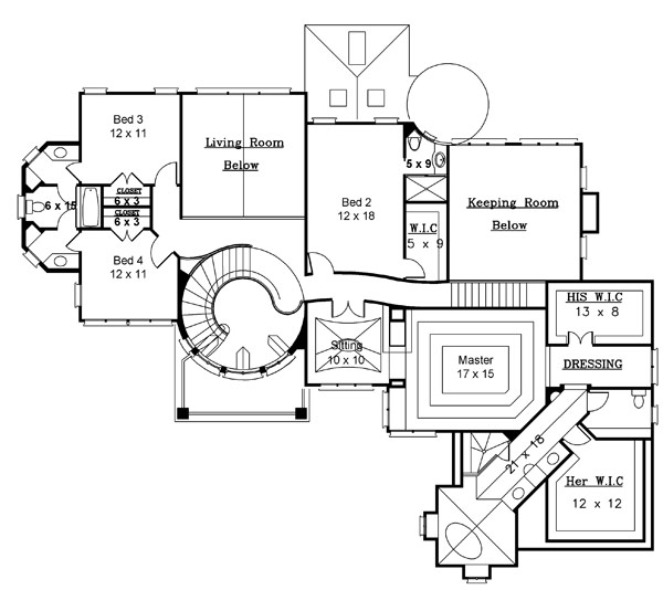 2nd Floor Plan by DFD House Plans
