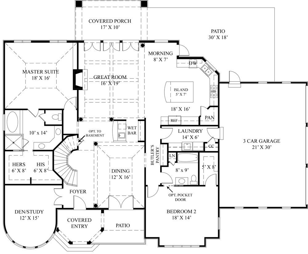 European House Plan with 4 Bedrooms and 4.5 Baths - Plan 4529