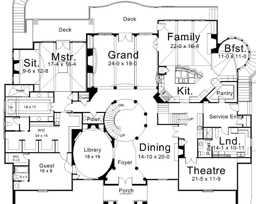 European House Plan with 5 Bedrooms and 5.5 Baths - Plan 6020