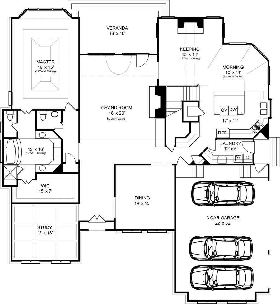 colonial house plan with 4 bedrooms and 4 5 baths