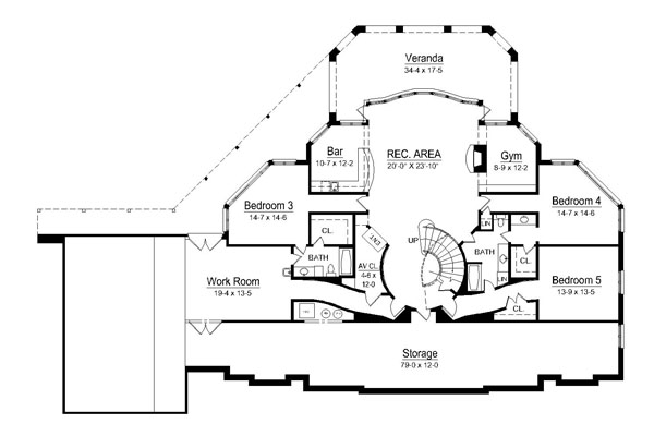 European house plan with 4 bedrooms and 4 5 baths plan 6009 for Grand staircase floor plans