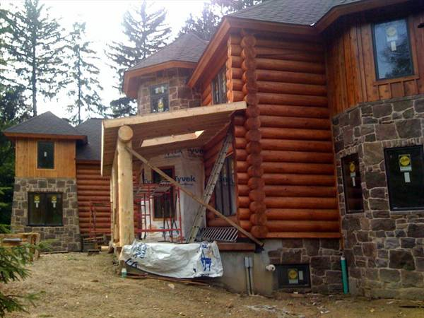 Log Cabin Exterior by DFD House Plans