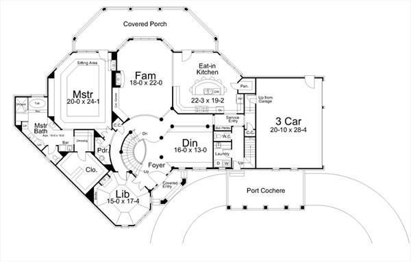Colonial House Plan with 5 Bedrooms and 3.5 Baths - Plan 6155