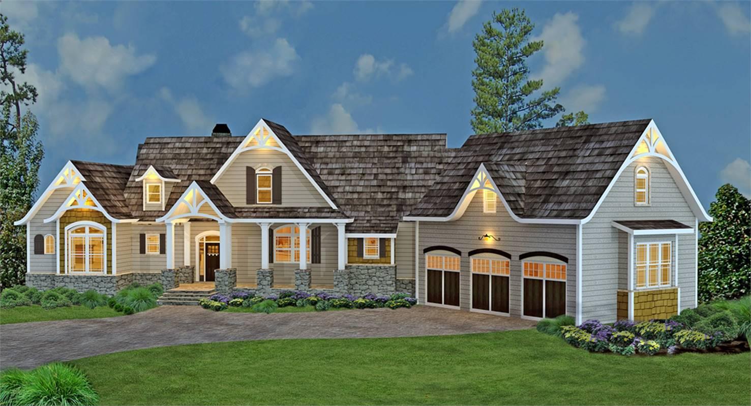 Front View image of Tres Le Fleur House Plan