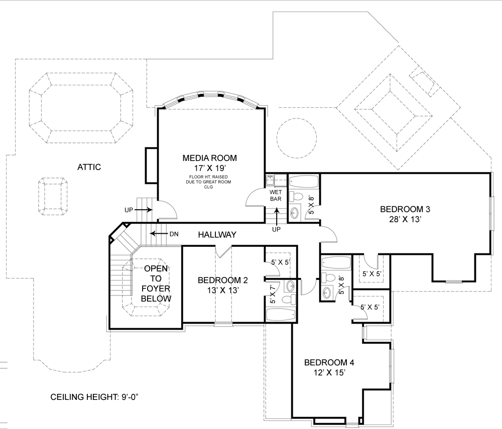 Colonial house plan with 4 bedrooms and 4 5 baths plan 7395 for Dfd house plans 1897