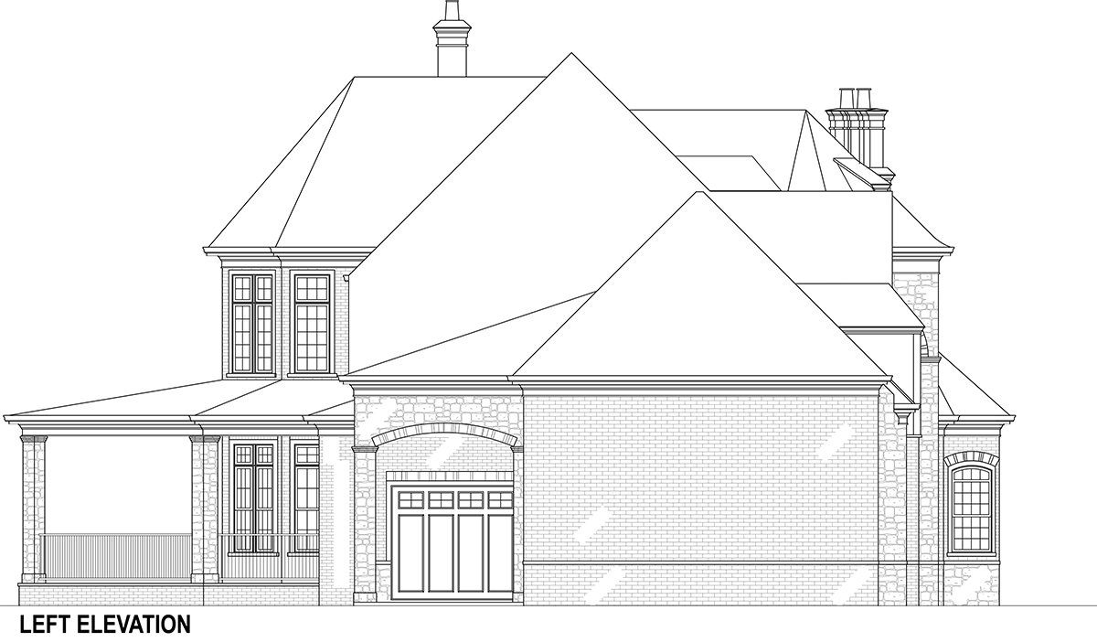 Left Elevation image of Lady Rose House Plan