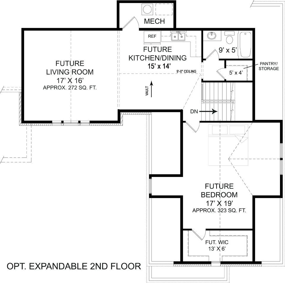 Optional Second Floor Plan by DFD House Plans