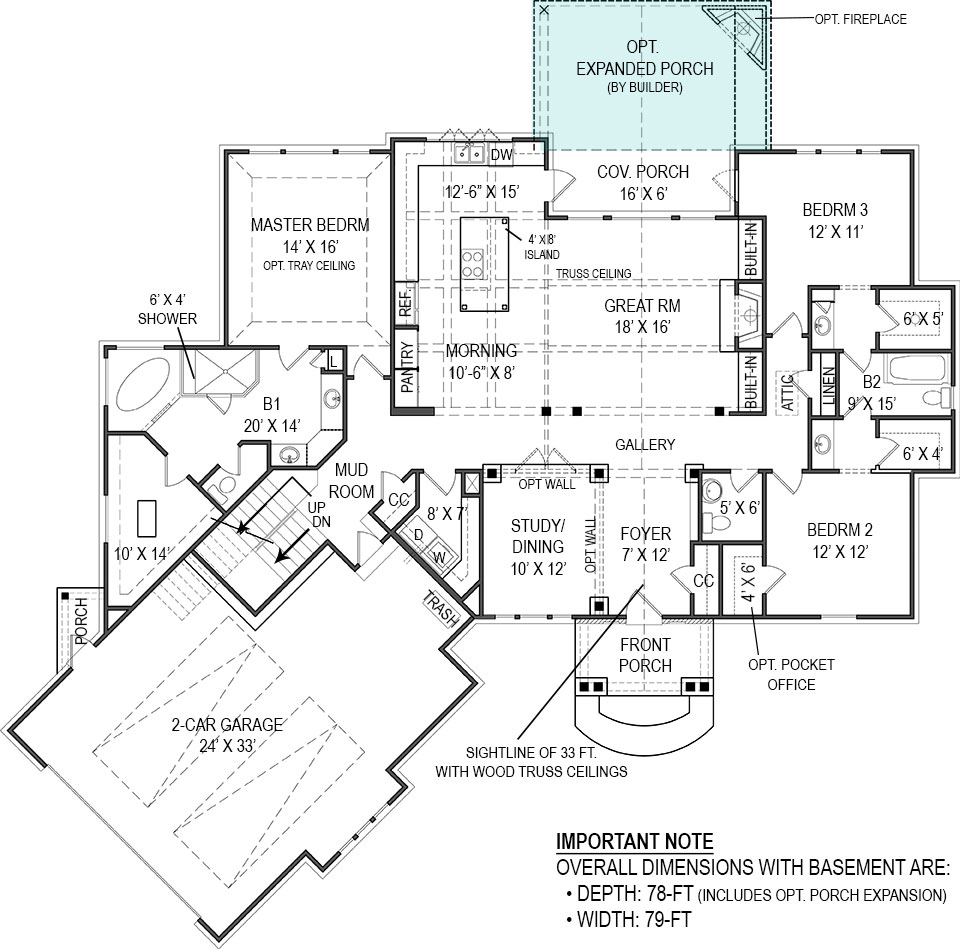 First Floor Plan for Basement by DFD House Plans