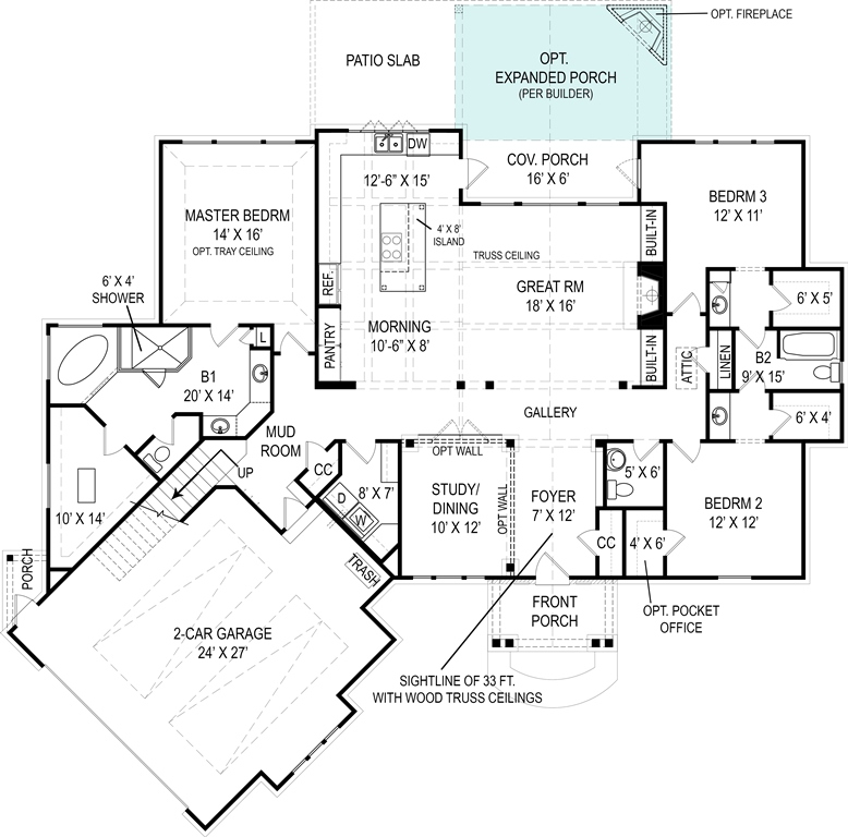 Cottage House Plan with 3 Bedrooms and 2.5 Baths - Plan 4510