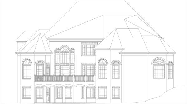 Rear-Right Elevation by DFD House Plans