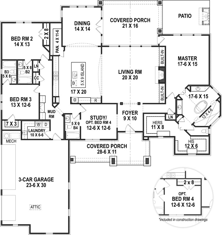 Ranch House Plan with 4 Bedrooms and 4.5 Baths - Plan 1453