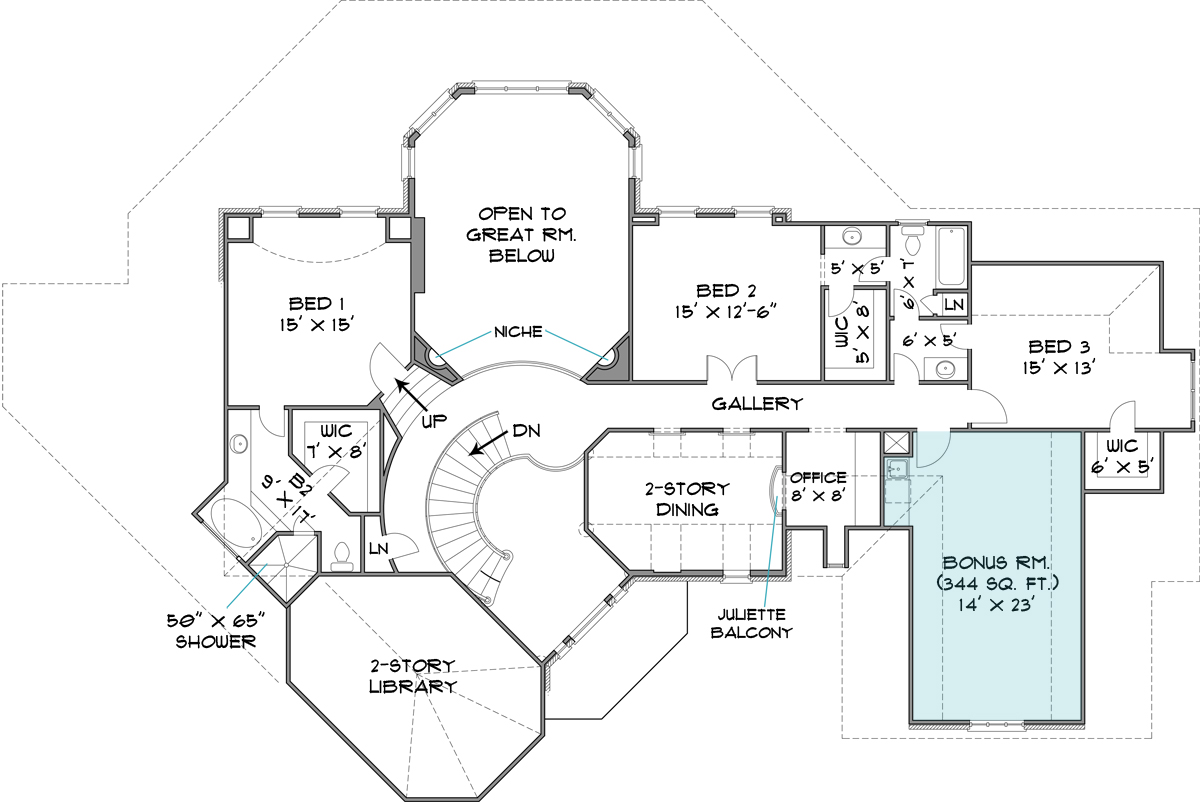 Colonial house plan with 4 bedrooms and 3 5 baths plan 6001 for Small pond house plans