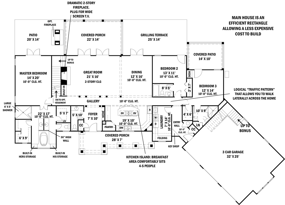 First Floor Plan  sc 1 st  DFD House Plans & Ranch House Plan with 3 Bedrooms and 3.5 Baths - Plan 4445