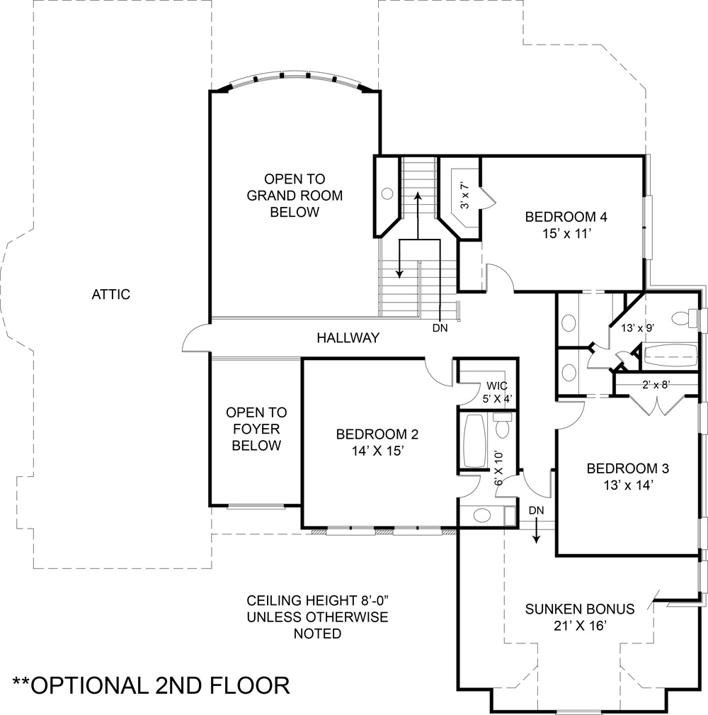 Opt. Second Floor Plan (included in set) image of Westover House Plan
