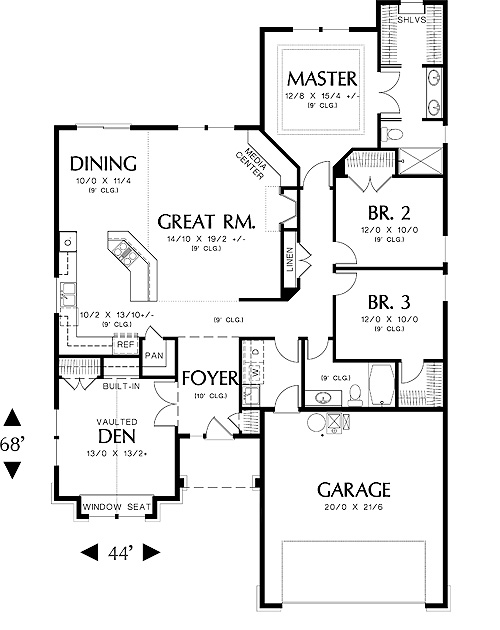First Floor Plan image of Hooksett House Plan
