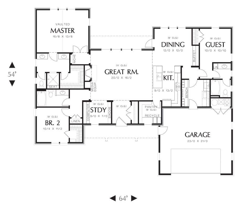 Main Floor Plan image of Oldbury House Plan
