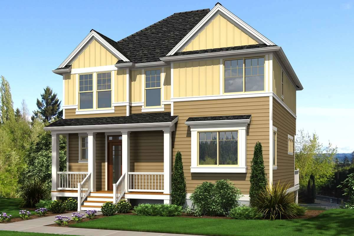 Front Rendering of a Three-Level Traditional Home for a Sloped Lot with a Rear Drive-Under Garage