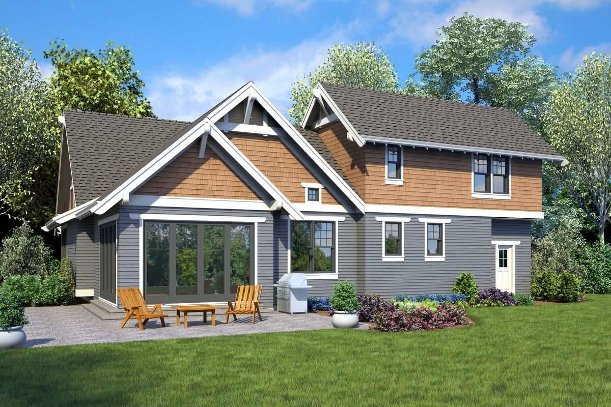 Rear rendering image of Wedgewood House Plan