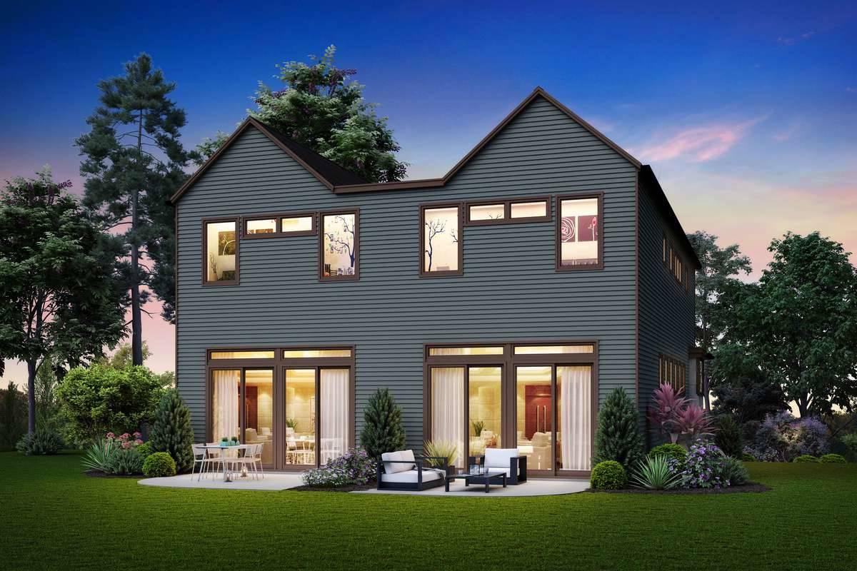 Rear Rendering image of Burnstown House Plan