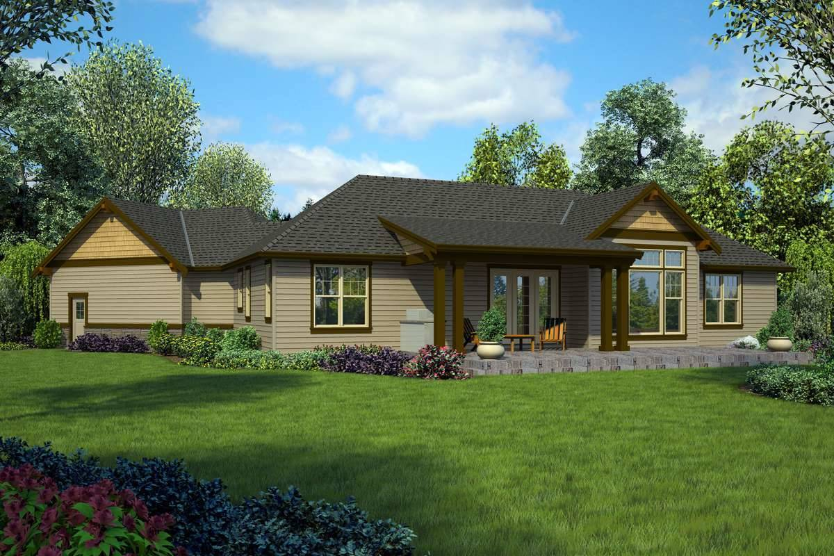 Rear Rendering image of Tahoe Getaway House Plan