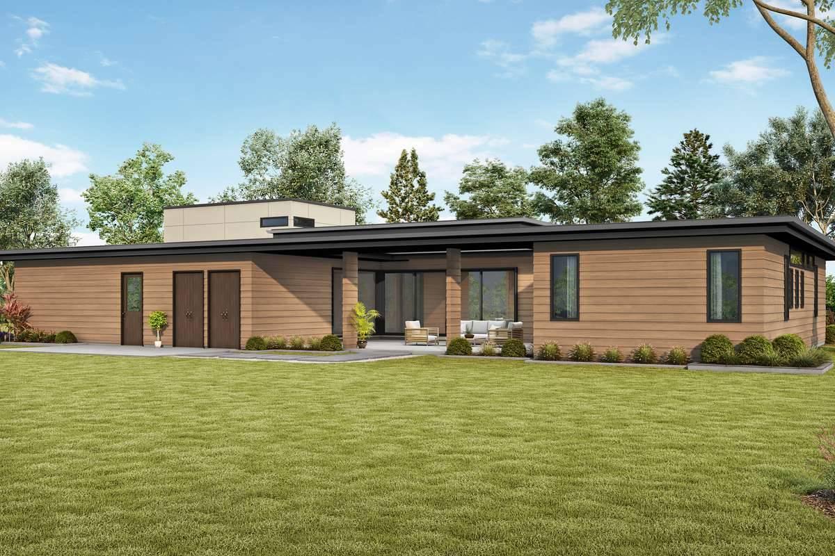 Rear Rendering image of Bradford House Plan