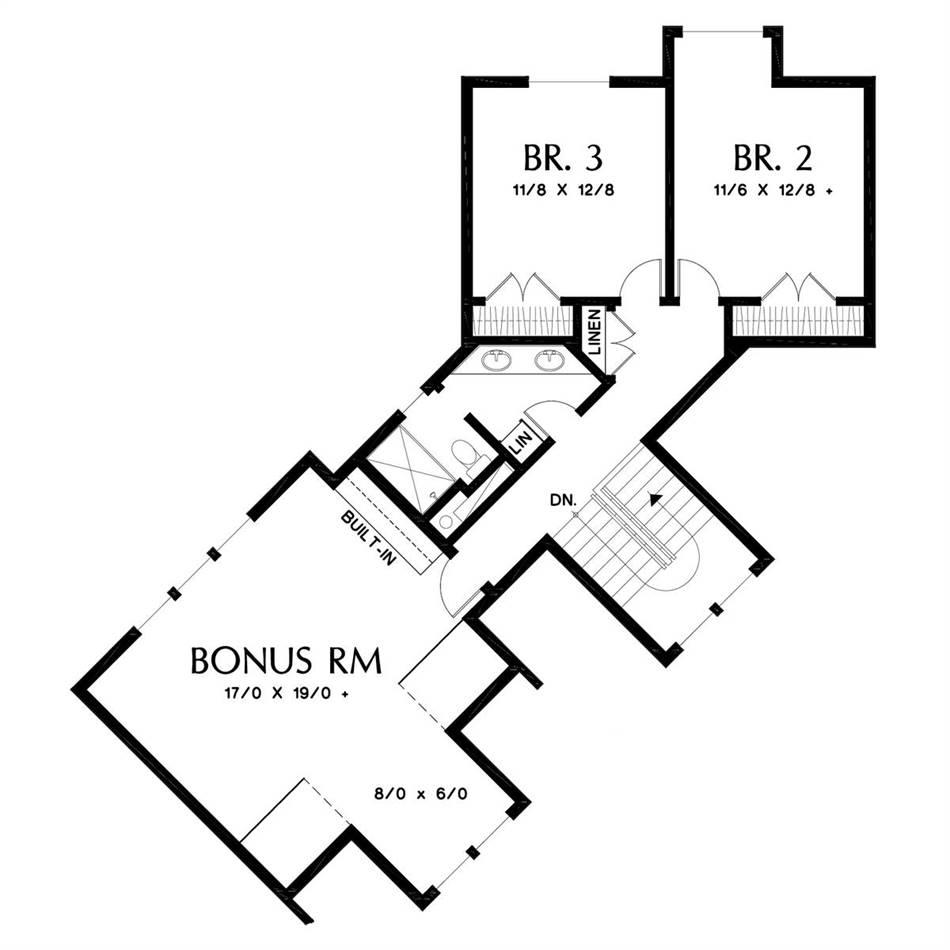 Upper Floor Plan image of Temple House Plan