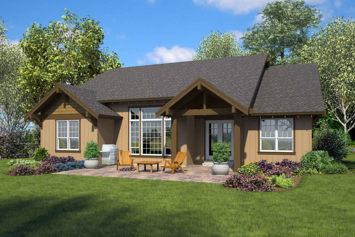 Rear Rendering image of Forest Nook House Plan