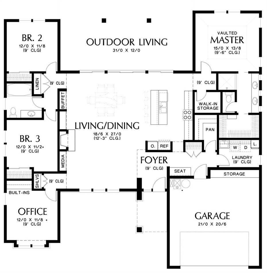 Main Floor Plan image of Biddeford House Plan