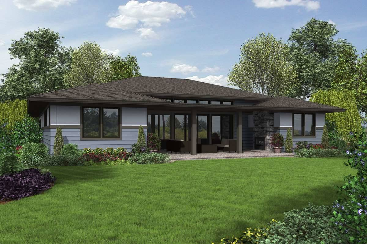 Rear Rendering image of Biddeford House Plan