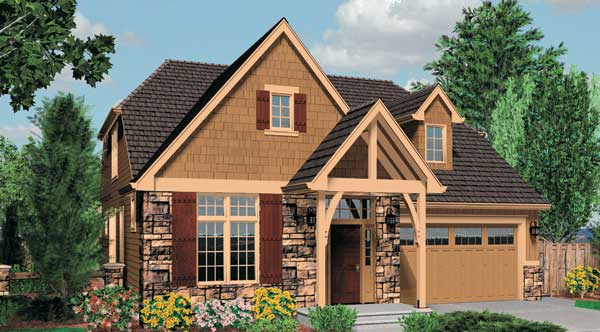 Cottage house plan with 3 bedrooms and 2 5 baths plan 5240 for Colorado style house plans