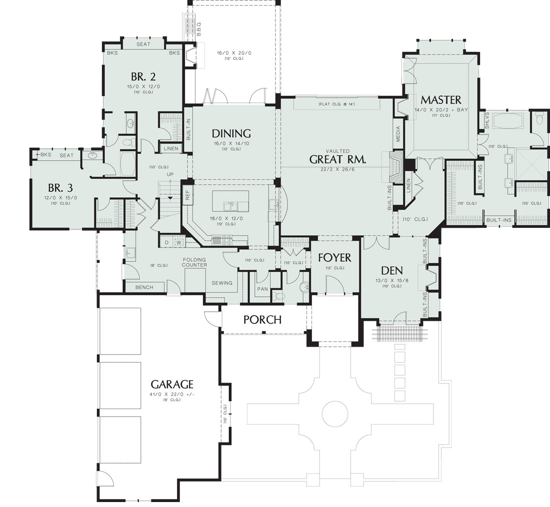 First Floor Plan image of Wayne House Plan