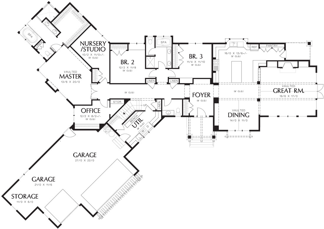 Craftsman House Plan with 3 Bedrooms and 2.5 Baths - Plan 6999