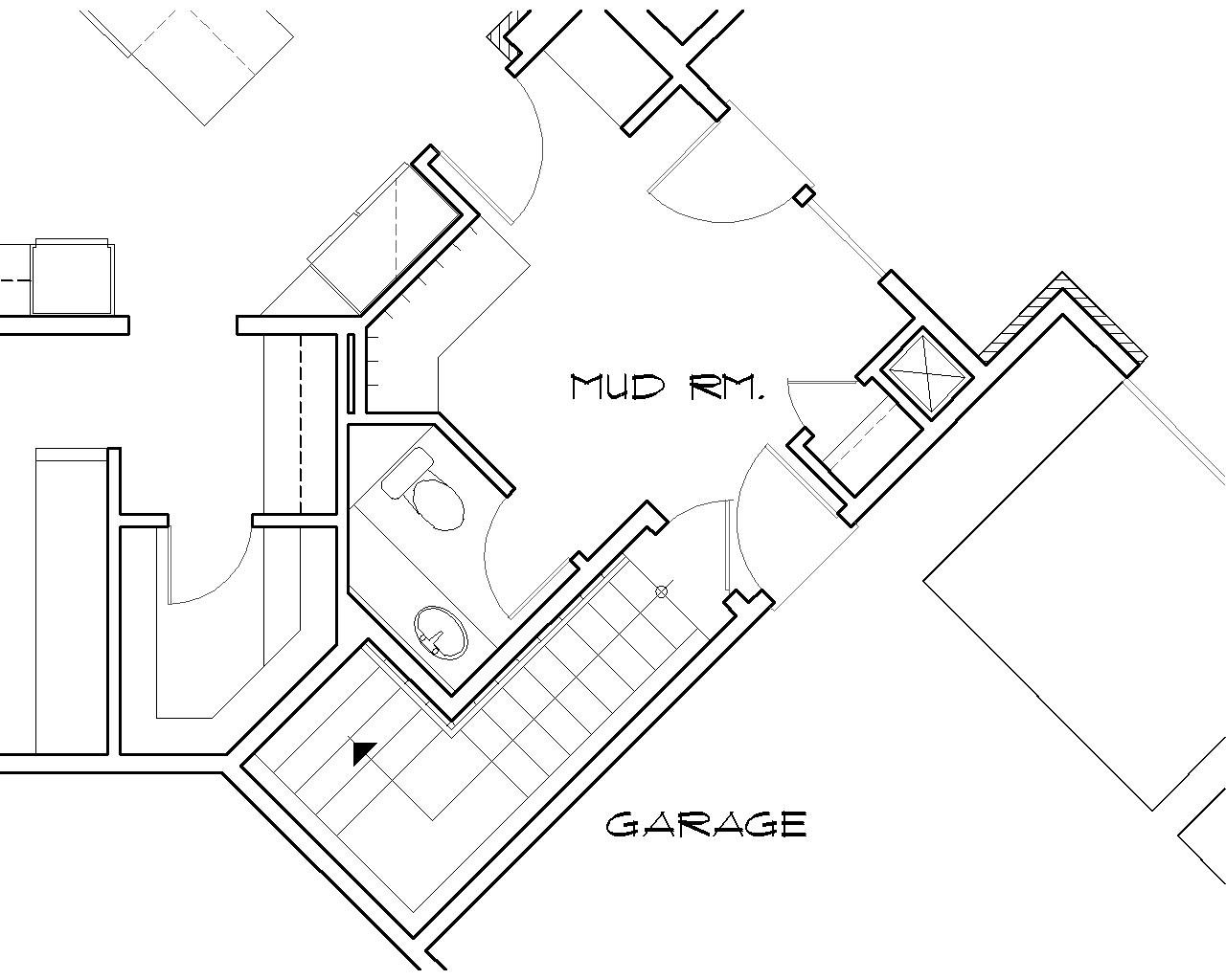 Basement Stair Location image of Keswick House Plan