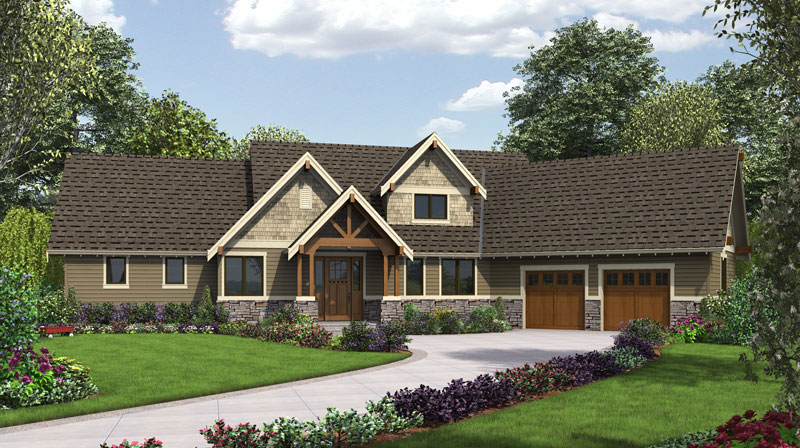 Craftsman house plan with 3 bedrooms and 2 5 baths plan 9121 for 2 bedroom lake house plans