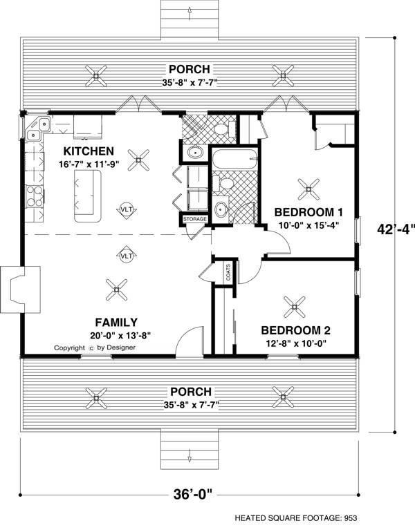 Cottage House Plan with 2 Bedrooms and 1.5 Baths - Plan 6746