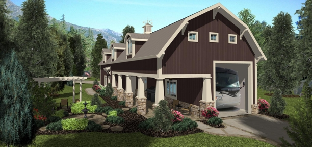 Rear Elevation image of Shadow Mountain Chalet House Plan