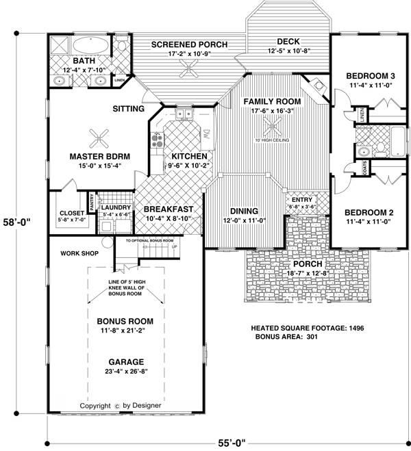 Floorplan image of The Small Country Cottage House Plan