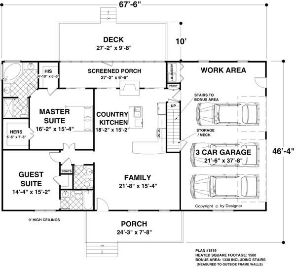 Ranch House Plan with 2 Bedrooms and 2.5 Baths - Plan 1167 on ranch house lighting, ranch style house additions, ranch house construction, ranch with basement front porch, ranch house models, porch building plans, ranch house porch addition, ranch house porch design, ranch house details, ranch house garages, ranch house description,