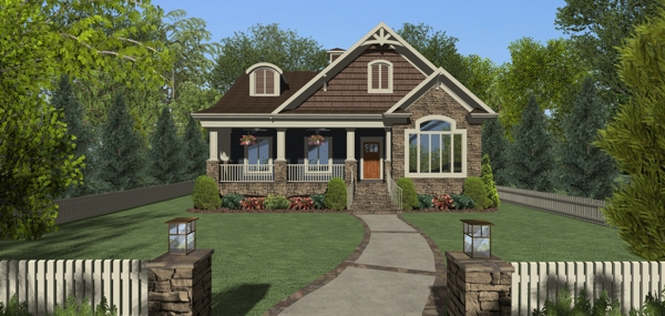 Front Elevation image of The Evergreen Cottage House Plan