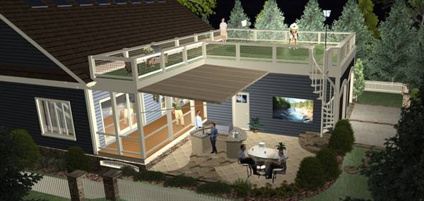 Rear Rendering image of The Evergreen Cottage House Plan