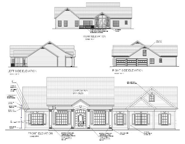 Rear Elevation image of The Oconee House Plan