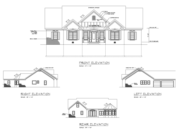 Ranch House Plan with 3 Bedrooms and 4.5 Baths - Plan 6246