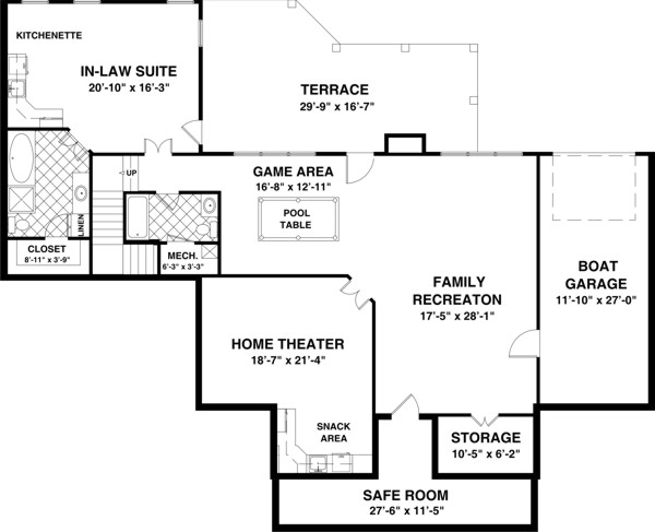 House Plans With Basements basement floor plansbasement floor plans examplesbasement plans floor plansfinished basement Ranch House Plan With 3 Bedrooms And 35 Baths Plan 1169