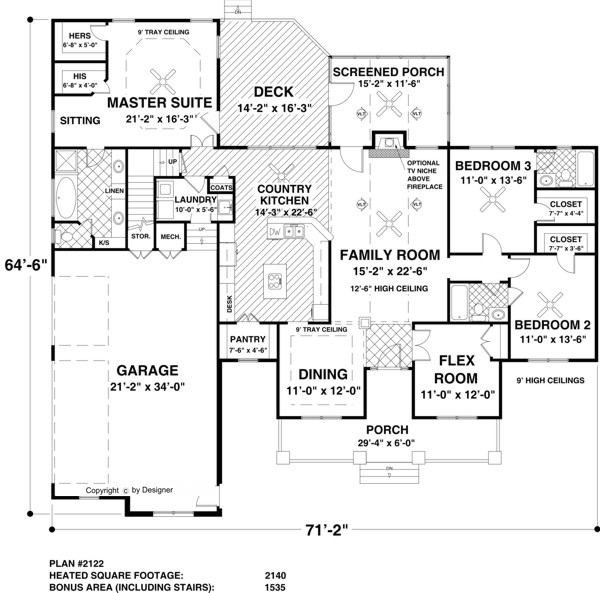 Ranch House Plan With 3 Bedrooms And 3 5 Baths Plan 3305