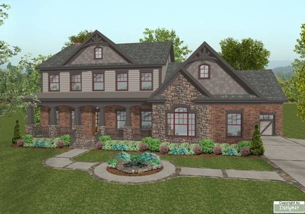 Southern house plan with 4 bedrooms and 4 5 baths plan 1033 for Stone garage designs