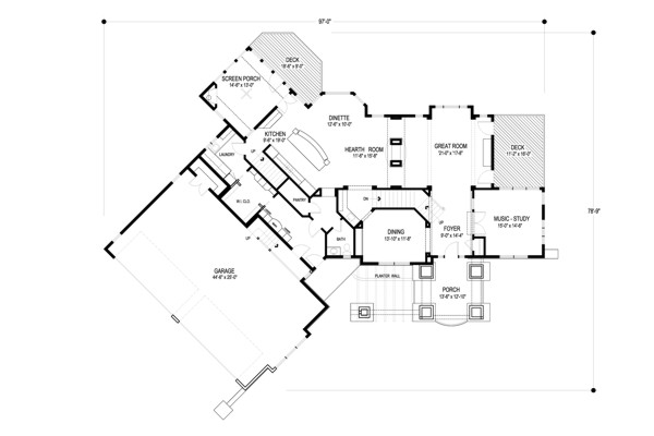 Main Level Floor Plan image of Bellingham House Plan