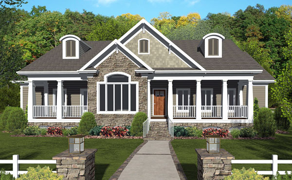 Ranch house plan with 3 bedrooms and 2 5 baths plan 3090 for Front view house plans