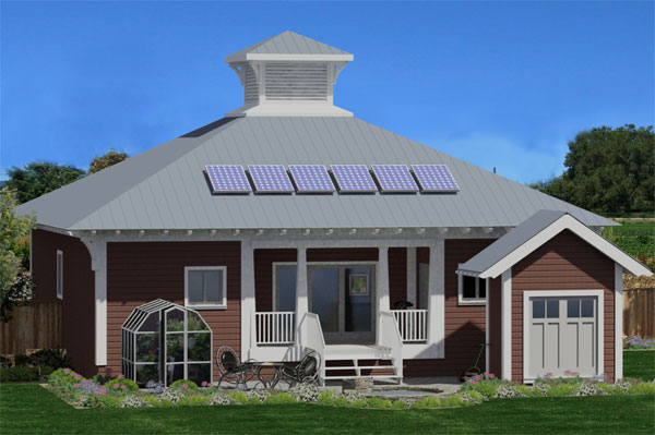 Rear Rendering image of The Eco Box House Plan