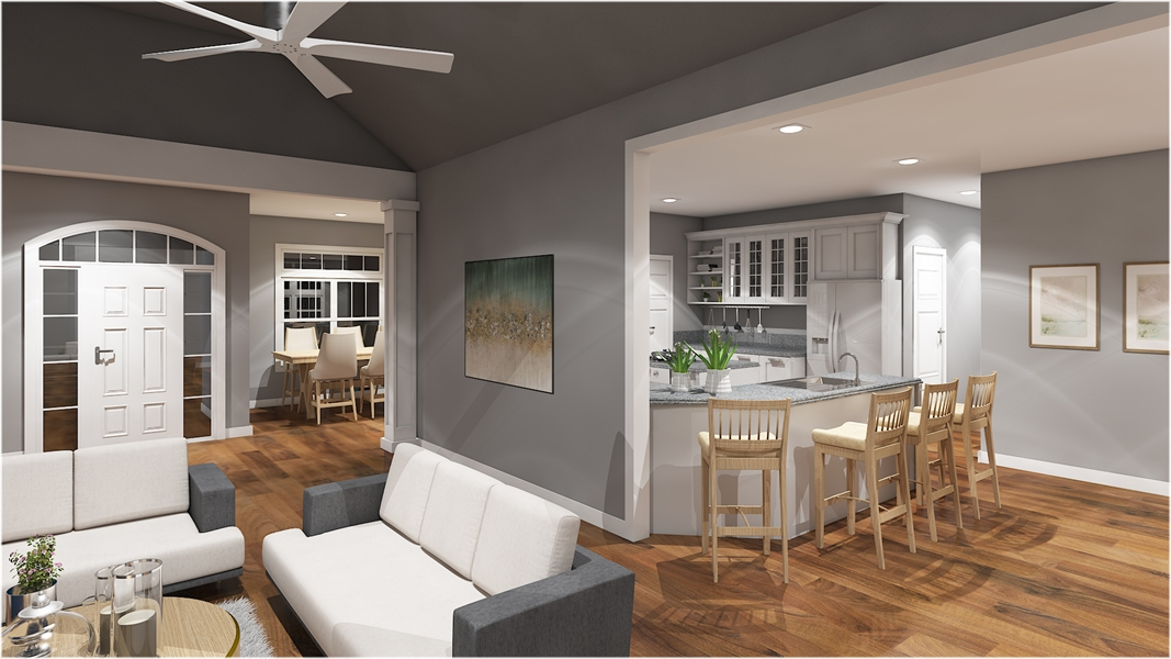 Family Room & Kitchen image of The Charleston Carriage House Plan